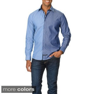 English Laundry Men's Color Block Collared Long Sleeve Button Down.