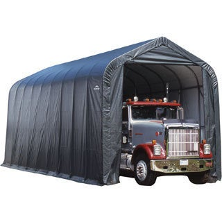 ShelterLogic Grey Automotive/ Boat Peak Style Outdoor Garage Storage Shed 18 feet wide x 24 feet long x 10 feet high