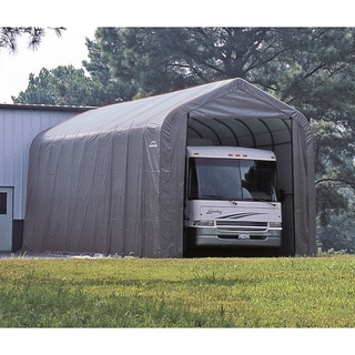 ShelterLogic Grey Automotive/ Boat Peak Style Outdoor Garage Storage Shed 18 feet wide x 28 feet long x 10 feet high