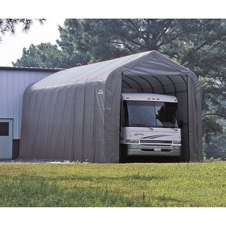 ShelterLogic Grey Automotive/ Boat Peak Style Outdoor Garage Storage Shed 18 feet wide x 20 feet long x 12 feet high