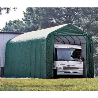 ShelterLogic Green Automotive/ Boat Peak Style Outdoor Garage Storage Shed 18 feet wide x 24 feet long x 10 feet high