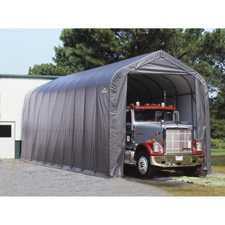 ShelterLogic Grey Automotive/ Boat Peak Style Outdoor Garage Storage Shed 18 feet wide x 24 feet long x 12 feet high