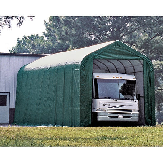 Overstock.com ShelterLogic Green Automotive/ Boat Peak Style Outdoor Garage Storage Shed 18 feet wide x 24 feet long at Sears.com