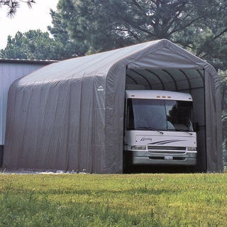 ShelterLogic Grey Automotive/ Boat Peak Style Outdoor Garage Storage Shed 18 feet wide x 28 feet long x 12 feet high