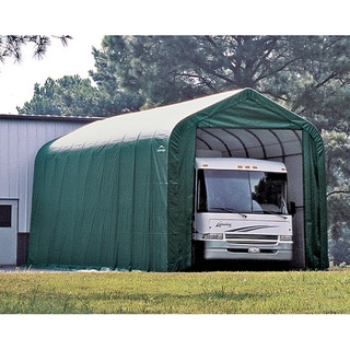 ShelterLogic Green Automotive/ Boat Peak Style Outdoor Garage Storage Shed 18 feet wide x 28 feet long x 12 feet high