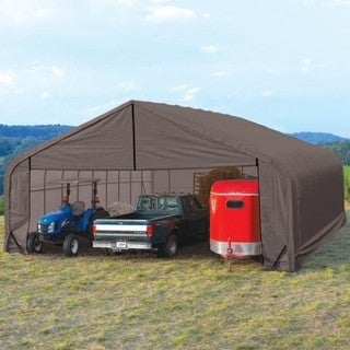 ShelterLogic Grey Automotive/ Boat Peak Style Outdoor Garage Storage Shed 22 feet wide x 24 feet long x 11 feet high