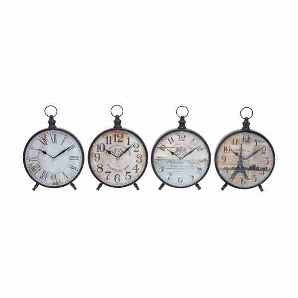 Set of 4 Assorted Decorative Desk Clocks