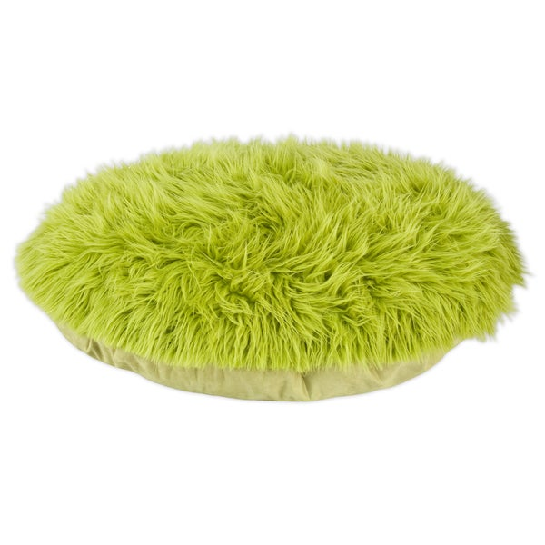 Shag Fur Green 36-inch Round Pet Bed