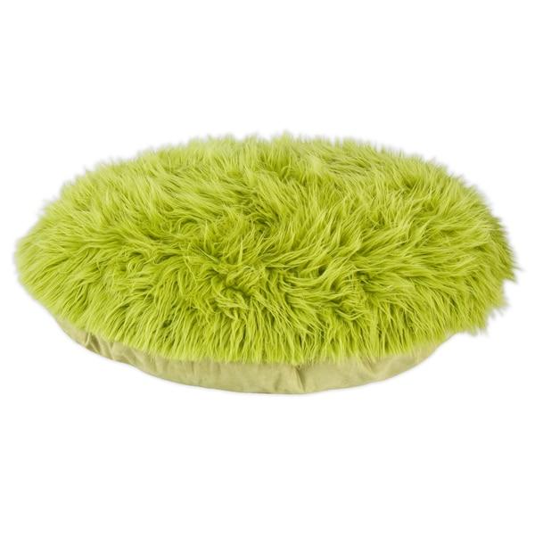 Shag Fur Green 36-inch Round Pet Bed