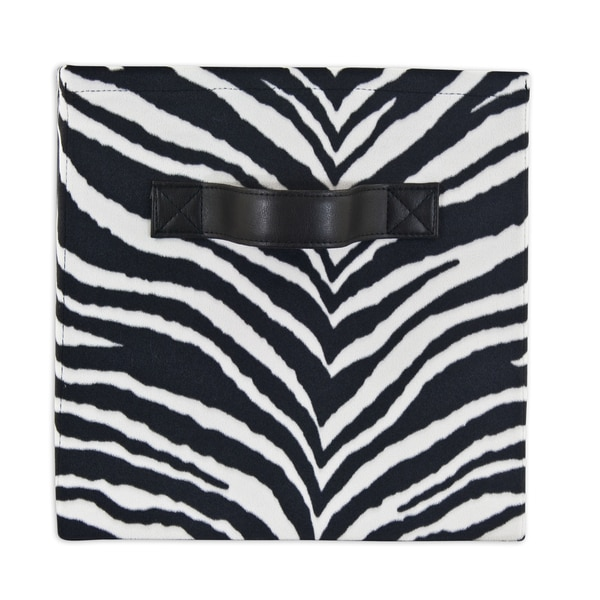Zebra Black Storage Bin with Handle