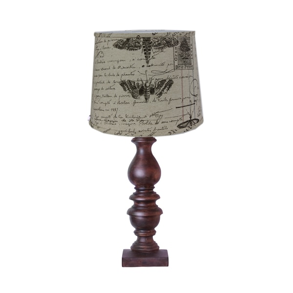 Somette Bishop Woodstain Antique Ledger Shade Table Lamp