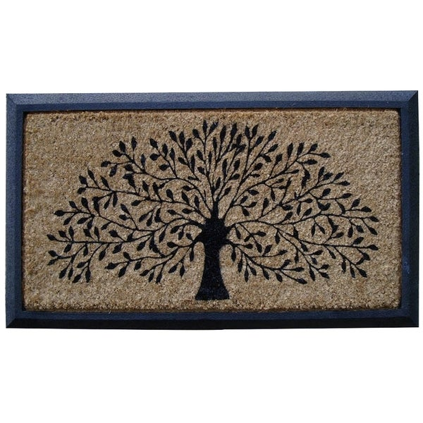 hand crafted molded rubber coir tree double door mat 2 39 6 x 3 39 11