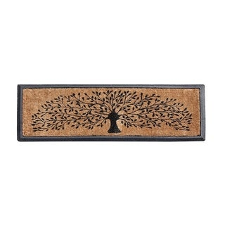 Hand-crafted Molded Rubber Coir Tree Double Door Mat (2'6 x 3'11)