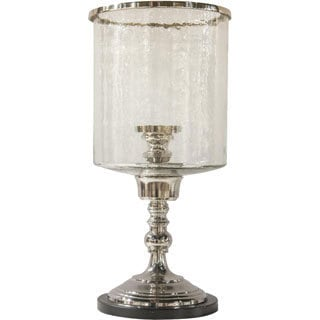Nickel Hurricane Lamp with Hammered Glass Cylinder