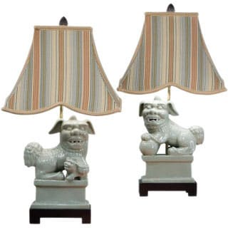 24-inch Celedon Foodog Lamp with Striped Shade (Set of 2)