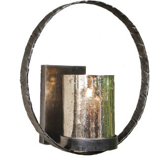 Pewter Finish Circle Wall Sconce with Hammered Glass