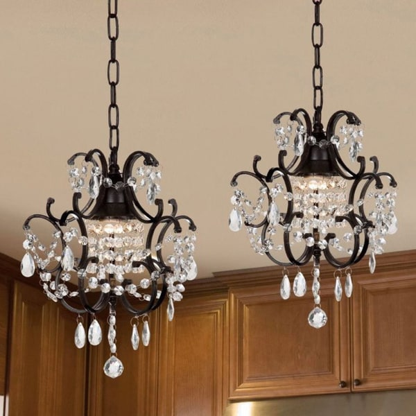 Gallery Versailles Wrought Iron and Crystal Mini-Chandelier 2-in-1 Set