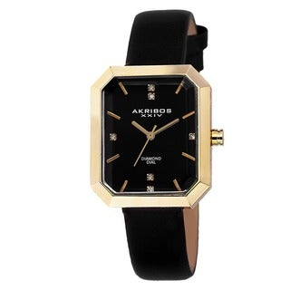 Akribos XXIV Women's Swiss Quartz Genuine Diamond Leather Strap Watch