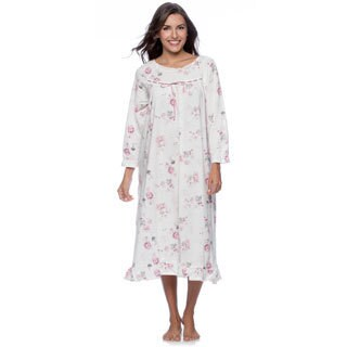 La Cera Women's White Floral Print Night Gown