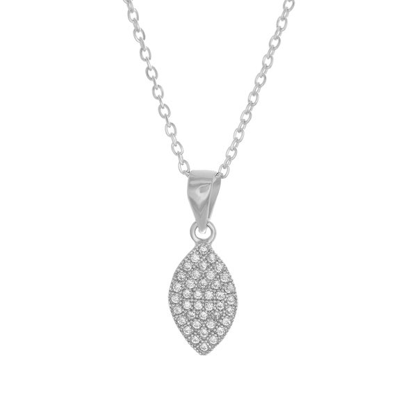Sterling Essentials Silver Cubic Zirconia Marquise Pendant Necklace