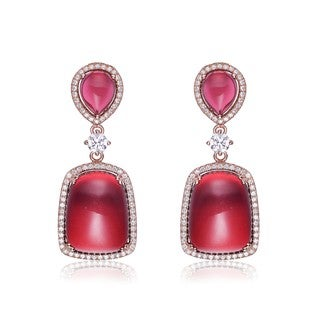 Collette Z Rose-plated Sterling Silver Created Ruby Cabshons and White Cubic Zirconia Square Drop Earrings