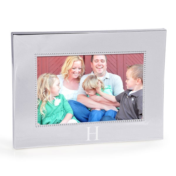 Personalized Horizontal Beaded Silver Picture Frame (4x6)