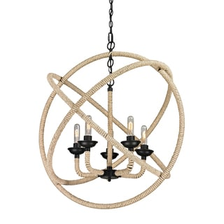 Elk Lighting Pearce 5-light Matte Black and Rope Chandelier