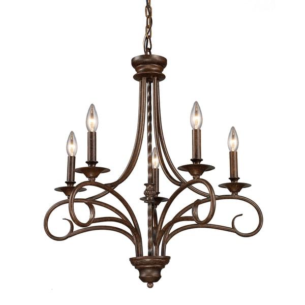 Elk Lighting Hartford: Elk Lighting Gloucester Antique Bronze 5-light Chandelier