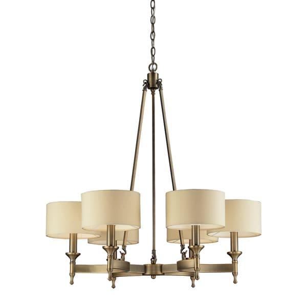 Elk Lighting Pembroke 6 Light Antique Brass And Silver Drum Shade Chandelier 16696146