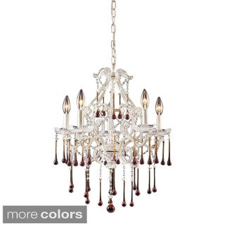 Elk Lighting Opulence 5-light Chandelier In Antique White And Crystal