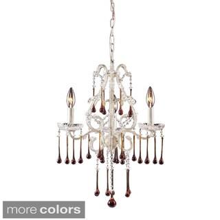 Elk Lighting Opulence Antique White and Crystal 3-light Chandelier