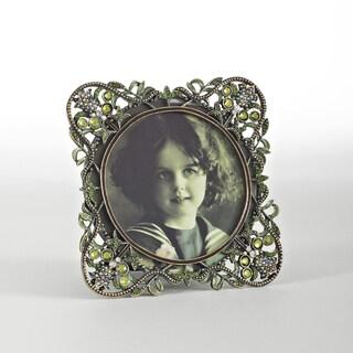 Vintage Green Jeweled Photo Frame