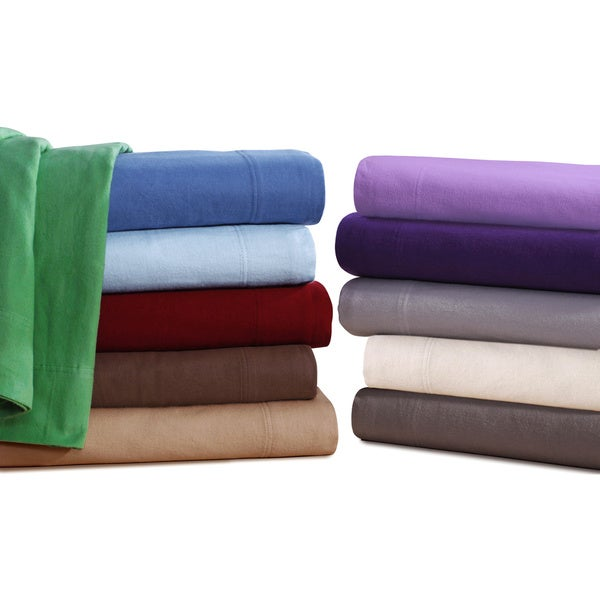Ultra-soft 5-Ounce Solid Flannel Deep Pocket Sheet Set or Pillowcase Separates