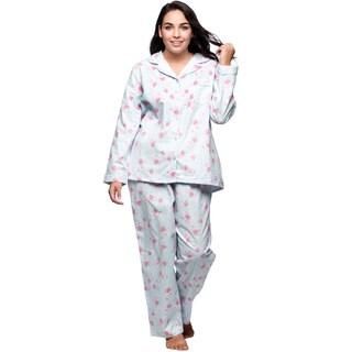 La Cera Women's Plus Size Floral Long Sleeve Pajama Set