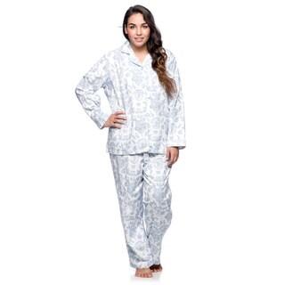 La Cera Women's Plus Size White/ Blue Long Sleeve Pajama Set