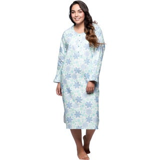 La Cera Women's Plus Size Snowflake Pull-over Flannel Gown