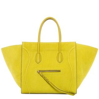 Celine 'Phantom' Medium Chartreuse Suede Luggage Tote
