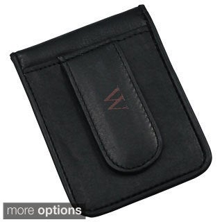 Personalized Black Genuine Leather Money Clip