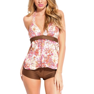 TBIS Brown Gentle Floral 2-piece Tankini with Shorts