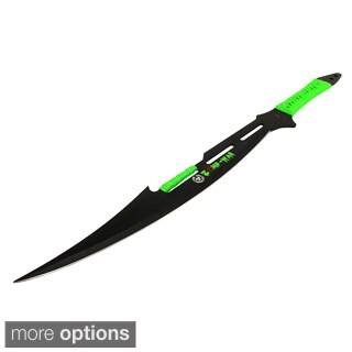 Defender Full Tang Black Stainless Steel Blade Green Zomb-War Sword