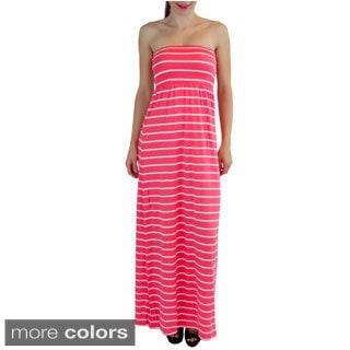 Strapless Striped Tube Maxi Dress
