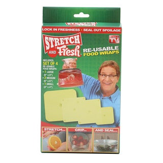 As Seen On TV Stretch and Fresh Re-usable Food Wraps, 4 Pieces