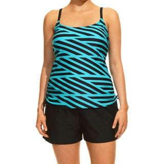 Special Stripes Black and Turquoise Tankini Top and Bottom