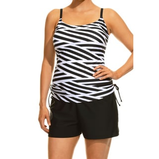 Special Stripes Black and White Tankini Top and Bottom