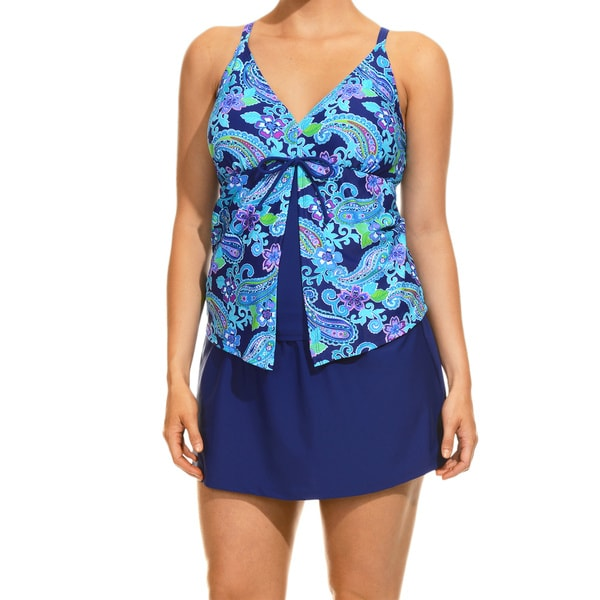 Women's Party Paisley Aqua Tankini Top and Bottom