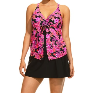 Women's Party Paisley Pink Tankini Top and Bottom