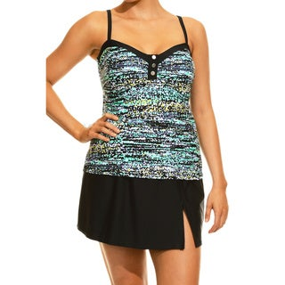 Women's Confetti Stripe Green Tankini Top and Bottom