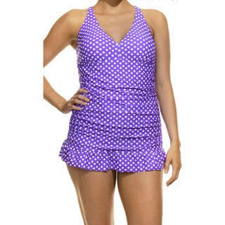 Ocean Dream Beach Dot Purple and White Swimdress