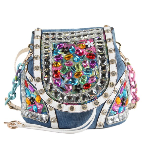 Nicole Lee Clover Denim Stones Backpack Purse