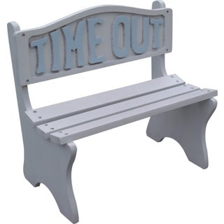 Time Out Kids White Frame With Blue Lettering Bench